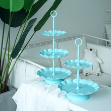 SWEETGO 3 tiers cupcake stand metal wave edge cake decorating tools wedding event party dessert plate decoration bake dinnerware