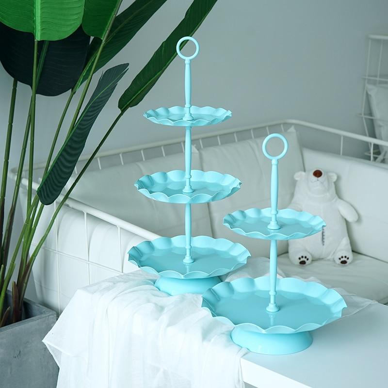 SWEETGO 3 tiers cupcake stand metal wave edge cake decorating tools wedding event party dessert plate decoration bake dinnerware