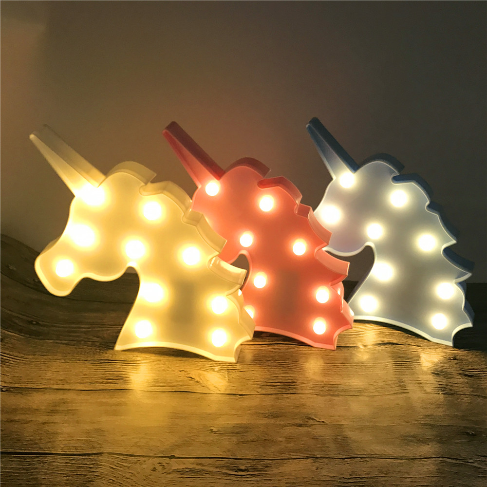 Novelty 3D LED Cute Unicorn Animal Night Light Warm White Shine Lovely Christmas Gifts Home Party Wedding Decor Battery Operated