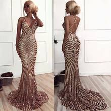 Sexy New Mermaid Evening Dresses Long 2019 V-Neck Sleeveless Floor Length Beading Tulle Prom Dresses Vestido de festa abiye(China)
