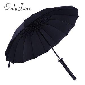Image 3 - Sólo Jime paraguas espada de samurái hombres de calidad a prueba de viento y resistente paraguas grande bastón largo mango Katana de moda paraguas negro