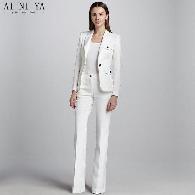 78885b89a74 Белый одна кнопка женщин Бизнес работы Костюмы женские офисные форма  свадьбы смокинг дамы формальных брюк Костюмы