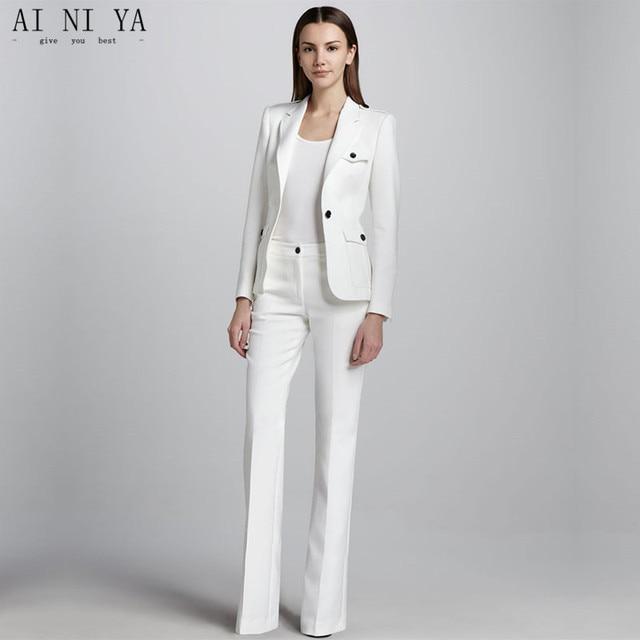 Blanco un botón mujeres de negocios trabajo Trajes mujer Oficina uniforme  boda Tuxedo Ladies pantalón formal 0e57f85078e7