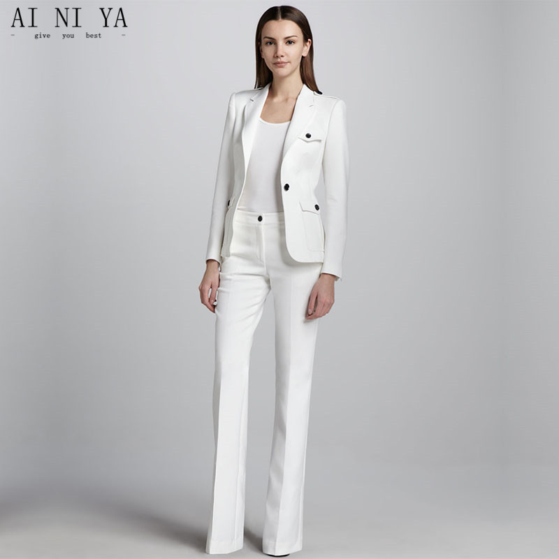 White One Button Womens Business Work Suits Female Office Uniform Wedding Tuxedo Ladies Formal Trouser Suits 2 Piece Sets Blazer