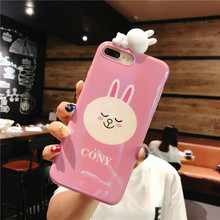 Cony and Brown Bear Blue Light Case with Sleeping Doll For iPhone XS XR XS MAX X 6 6S 7 8 Plus
