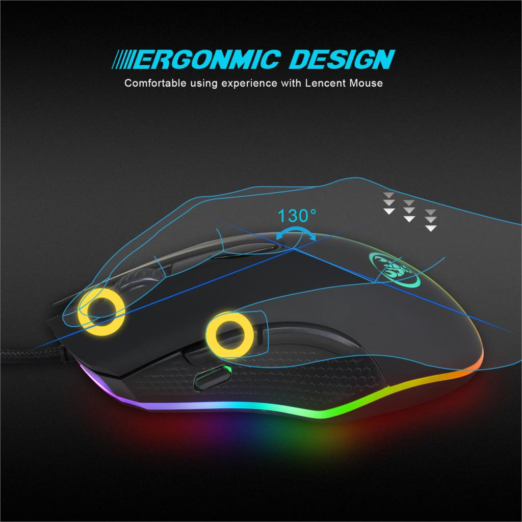 Image 3 - HXSJ USB wired mouse Ergonomics Mechanical macro definition game mice 6 key 12 level adjustable DPI Max 4800 DPI For game player-in Mice from Computer & Office