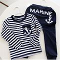 Hot Sale New 2017 Spring Kids Clothes, Navy Long Sleeve Pullover Striped Sports Suit, Casual Boys Clothing Set