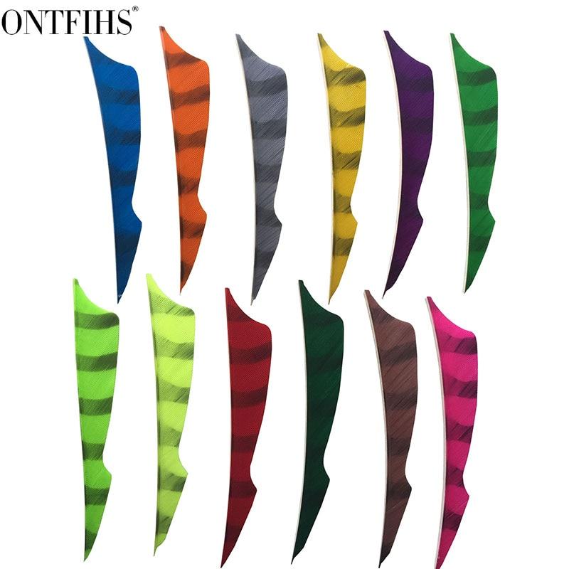 ONTFIHS RW 4 Striped Double Side Archery Fletches Sting Arrow Feather Fletching 100 pcs