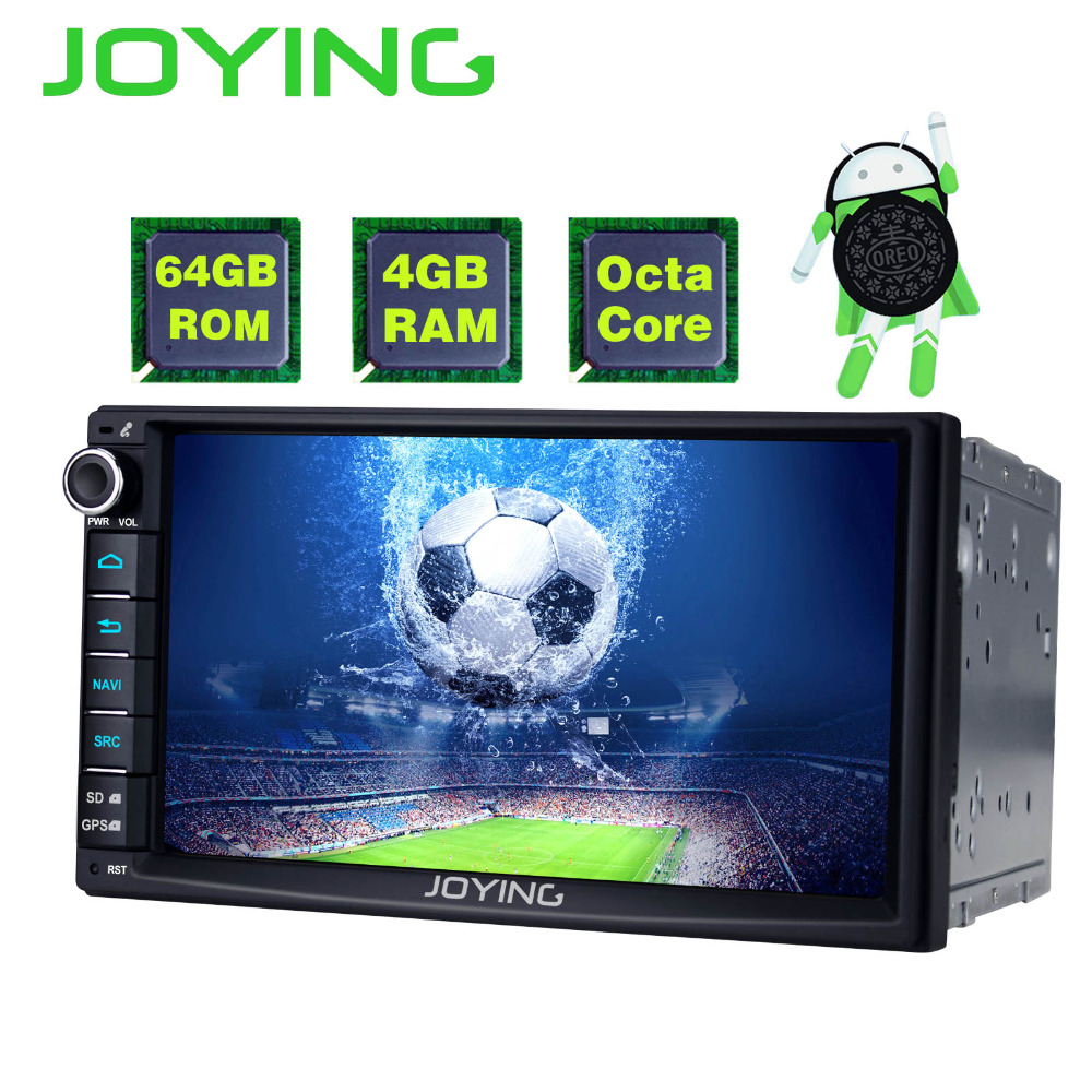 цена JOYING 2 Din Android 8.0 Car Stereo Autoradio 7'' 4GB RAM 64GB ROM GPS Octa Core Touch screen Cassette Radio carplay Video Out