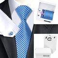 HN-1204 Top Selling Classic Bule Stripe Tie Hanky Cufflinks Set+Free Clip+Gift Box Bag for Men's Business Wedding Party