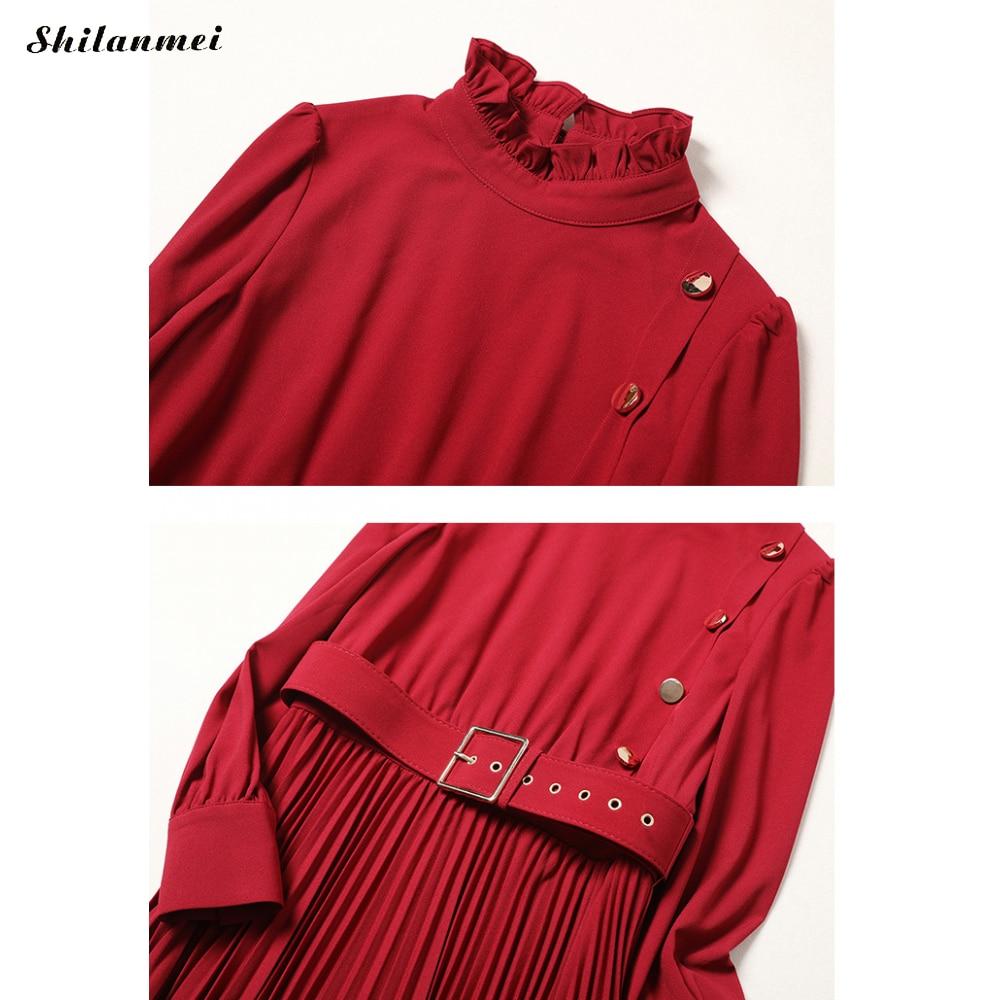 Femme Design Manches Coton Robes Solide De Supérieure Longues Rouge 2019 Robe Femmes Nouveau Dames Élégantes À Qualité A4j3RL5q