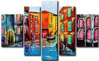 Hand Painted Color City of Venice Water Town Boat landscape Wall Home Decor Oil Painting on Canvas Painting 5pcs/set no Framed