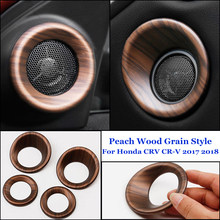 4pcs/Set Speaker trims Wood Grain Inner Door Speaker Panel Cover Plastic Trim For Honda CRV 2017-2018 Personalized Accessory(China)