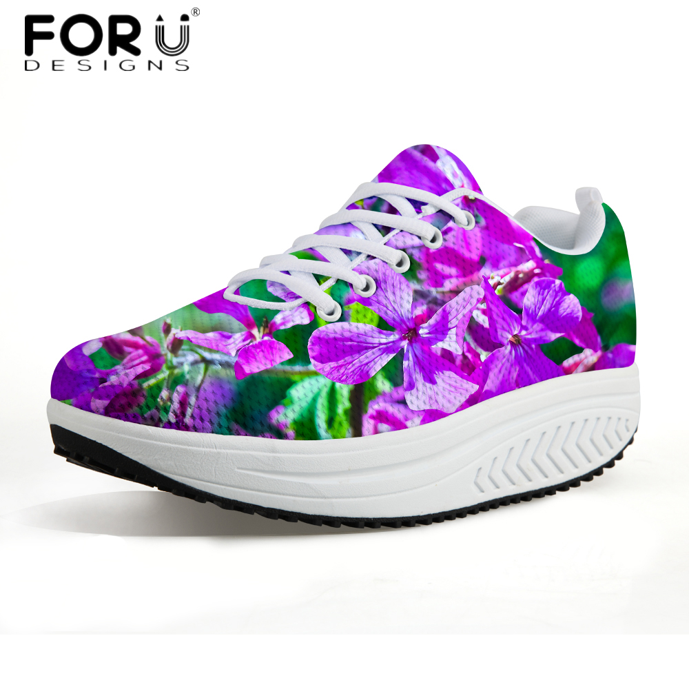 FORUDESIGNS Fashion Floral Style Women High Top Swing Shoes Casual Lace-up Height Increasing Platform Shoes Woman Flats Female the water economy of israel