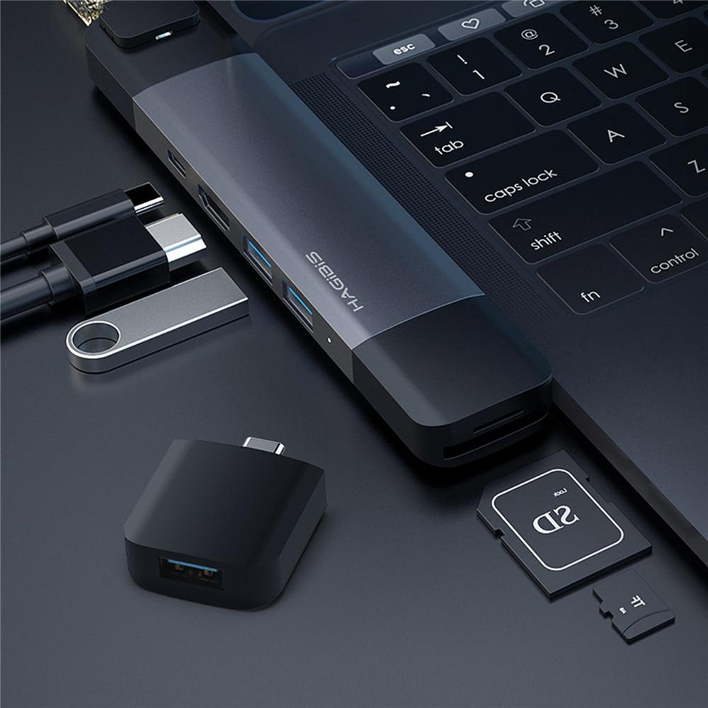 Double Type C Hub 4 K HDMI USB 3.0 Thunderbolt 3 pour MacBook Pro chargeur adaptateur PD Adaptateur avec mallette de rangement SD /TF emplacement pour cartesDouble Type C Hub 4 K HDMI USB 3.0 Thunderbolt 3 pour MacBook Pro chargeur adaptateur PD Adaptateur avec mallette de rangement SD /TF emplacement pour cartes
