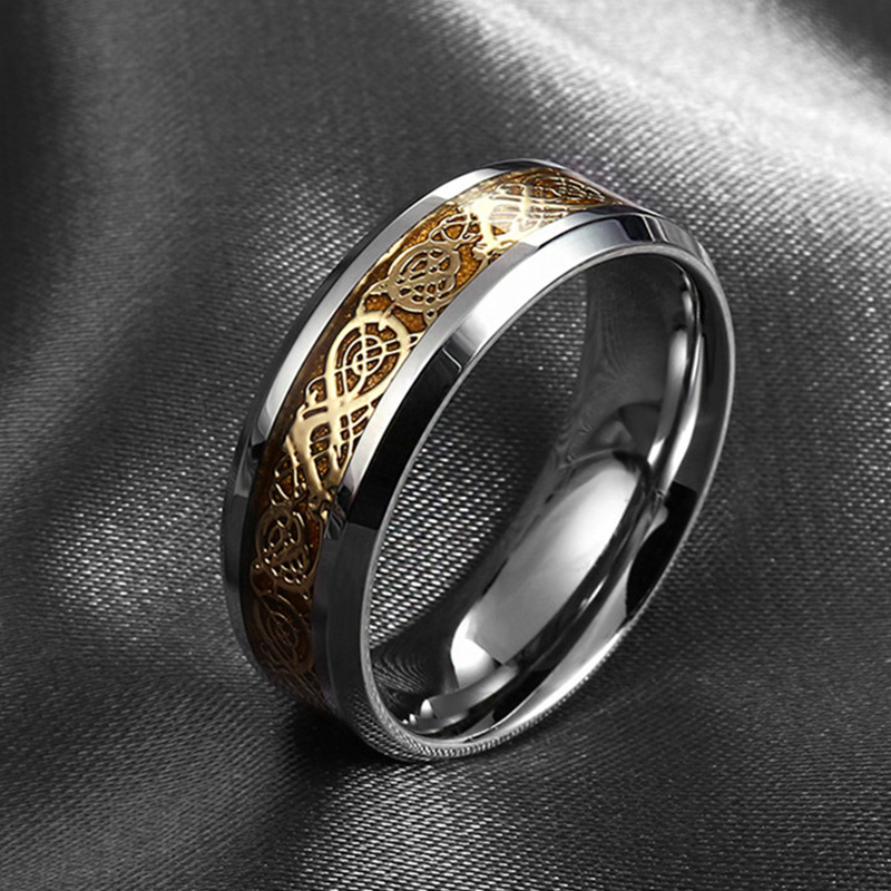 Gaxybb Stainless Steel Dragon Ring Fine Jewelry How