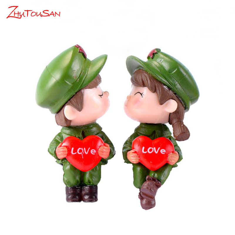 1pair Wedding Cake Ornaments Sweety Army Lovers Couple Diy Craft Moss Micro Landscape Home Decoration Figurines Miniatures Aliexpress
