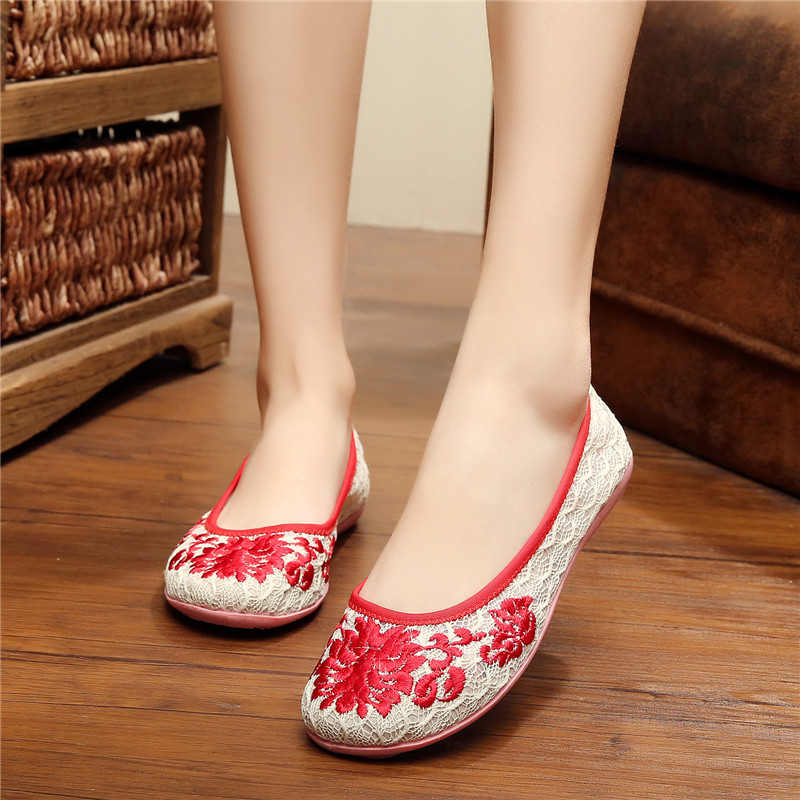Spring Shoes Woman Flower Embroidered Breathable Lace Flat Ladies Chinese Style Casual Flats For Women Blue Big Size 34-40