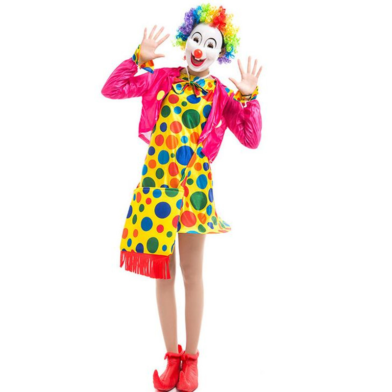 Fashion Adults Women Lady Cosplay Clown Costume Clown Bag Shoes Gloves Mask Acce