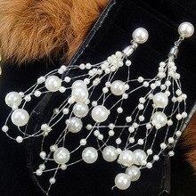 Charmcci   Trendy Created Long Simulated Pearl Drop Fashion Dangle Pearls Earrings for Women , Fashion Earrings pair of trendy faux pearls crystal chain drop earrings for women