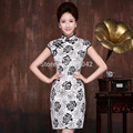 women China style cotton cheongsam 2017 new fashion white-black vintage pattern tang suit one-piece dress summer qipao dress