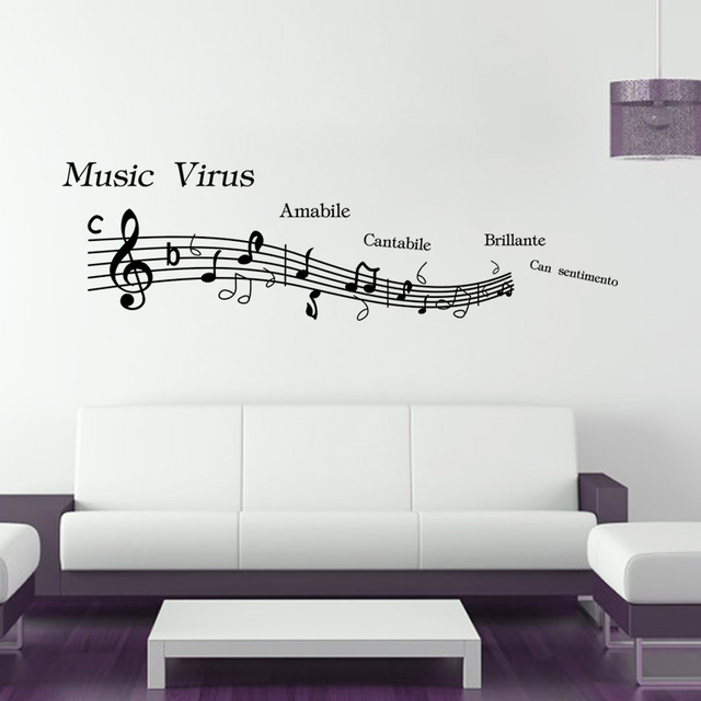 Music Classroom Wall Decorations ~ Fasion new music note spectrum virus player home