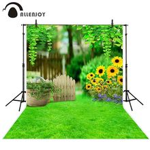 Allenjoy photography backdrop Spring wood fence sunflower green grass background photo studio photophone photocall shoot props