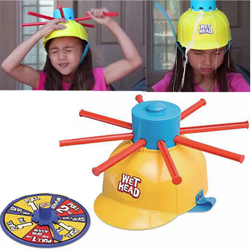 2016 New Parents Kids Wet Head Hat Water Game Challenge Wet Jokes And toy funny Roulette Game toys image