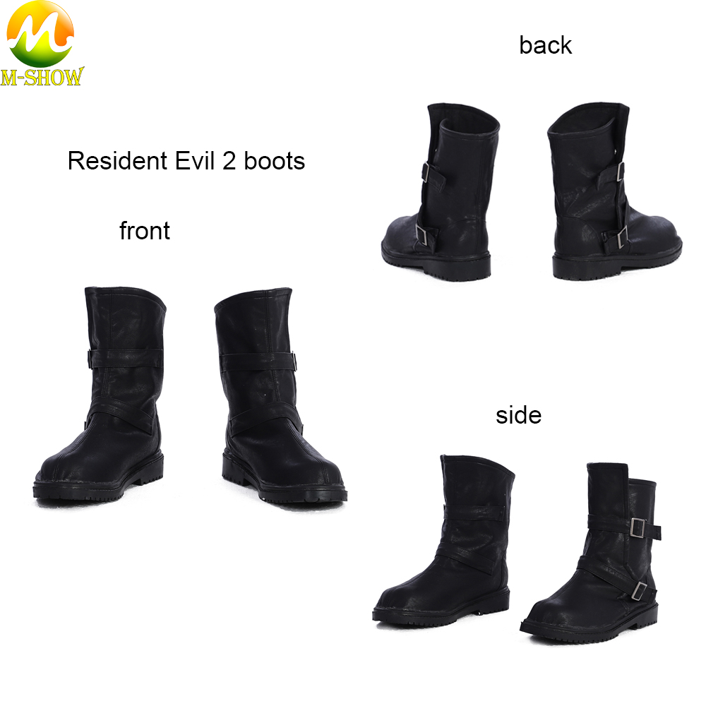 Black Women Custom Boots Game Resident Evil 2 Cosplay Claire Shoes For Halloween Party