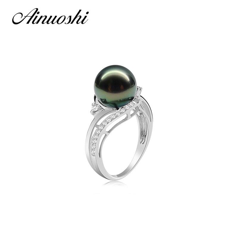 AINUOSHI 9,5 10 мм черный жемчуг Таити круглый жемчуг кольцо стерлингового серебра 925 Для женщин свадебные Обручение Юбилей кольца ювелирные изде