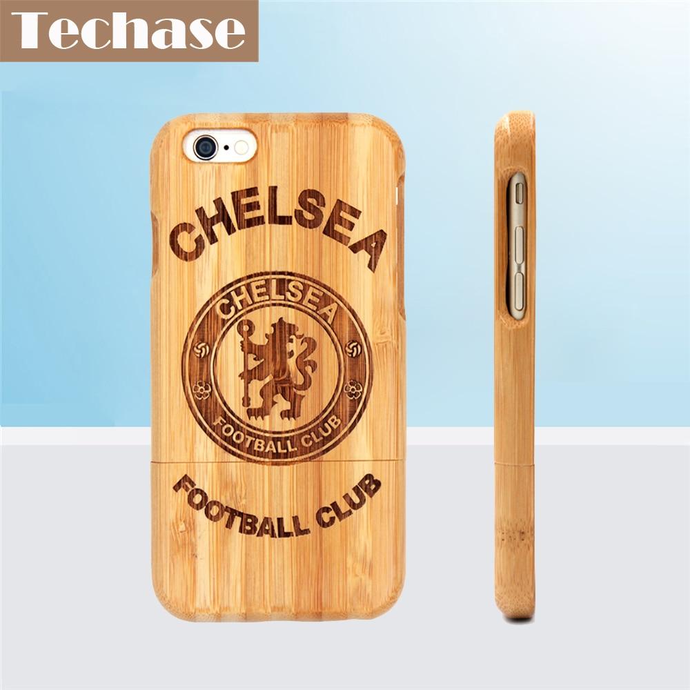 imágenes para Techase Bambú Cajas Del Teléfono Para El Chelsea FC Football Club Para iPhone 6 Caso Del Club de Fútbol de La Contraportada Para el iphone 5 Fundas de Barcelona
