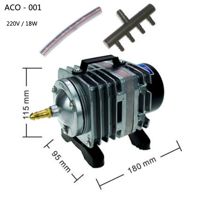 ACO 001 Electromagnetic Air Pump for Aquarium Pond Hydroponi 18W 220v aquarium air pump fish tank oxygen airpump akvaryum pump