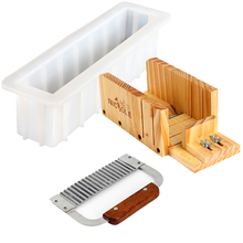 Silicone Soap Mold Set 3 PCS Adjustable Wood Loaf Cutter Box & Stainless Steel Wavy Knife DIY Swirl Making Tool Mould