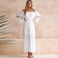 e586e5228447 Summer Sundress Long Women White Beach Dress Strapless Long Sleeve Loose  Sexy Off Shoulder Lace Boho. Verão Vestido Longo Mulheres ...