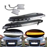 ANGRONG 2X для Audi Q7 2007 2009 светодиодный вождения дневного поворотов свет лампы