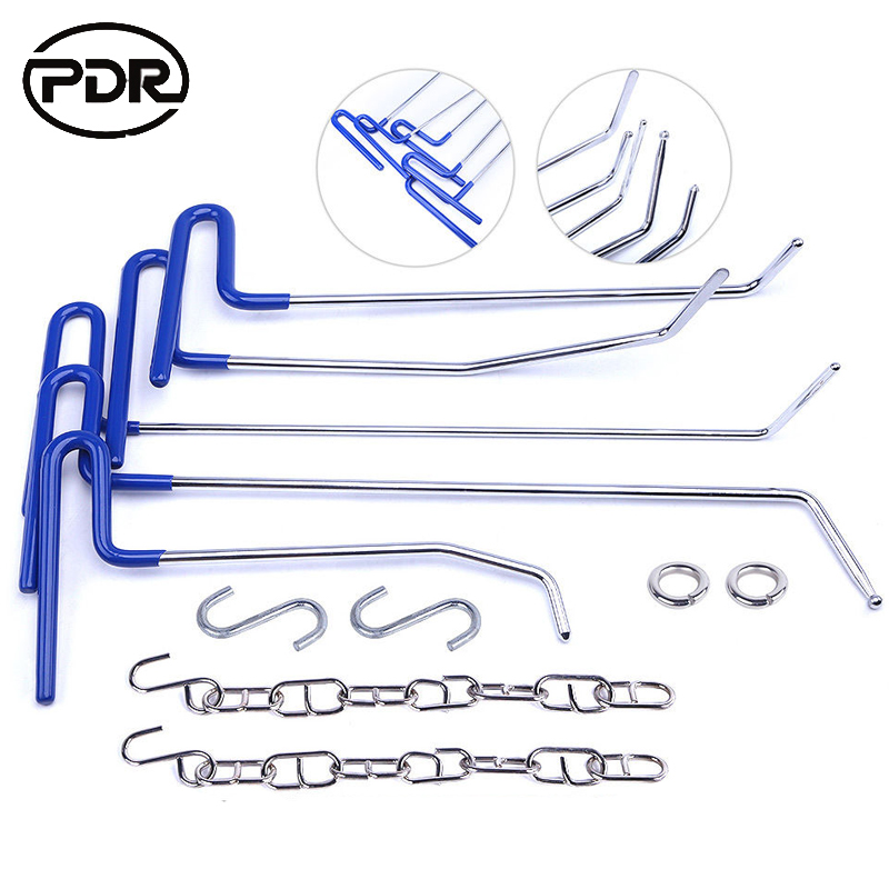Фотография PDR Tools Hooks Push Rods Dent Removal Paintless Dent Repair Kit Door Dings Hail Repair Tool To Remove Dents DIY Hand Tool Set