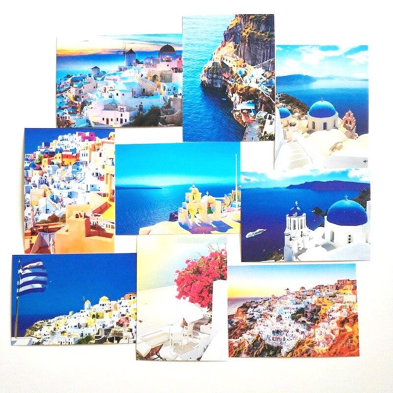 30 Teile/satz Santorini Postkarten Landschaft Postkarten Speicher der Liebe Blau Postkarte Seeozean Postkarte