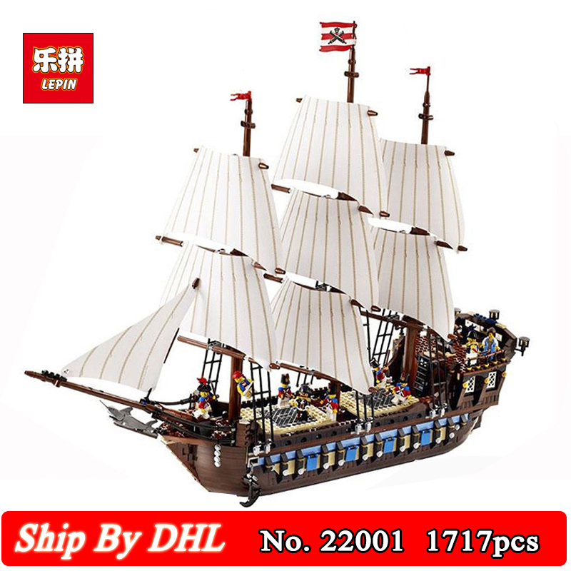 DHL Lepin 22001 Pirate Ship warships Model Building Kits Blocks 1717pcs Bricks Boy Educational Toys Gift Compatible 10210 lepin 22001 pirates series the imperial flagship model building blocks set pirate ship legoings toys for children clone 10210