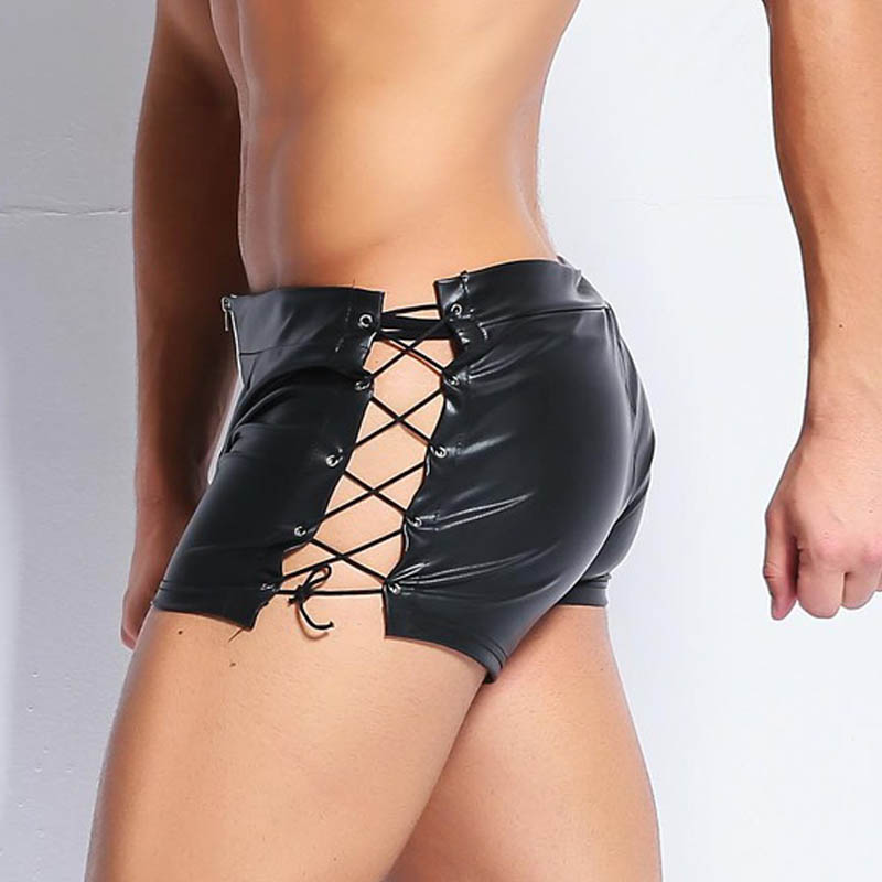 Men's Sexy Walking Leather Short Shorts Strappin Hip Huggers Faux Leather Body Engineers Flank Bandage Casual Men Puttee Shorts