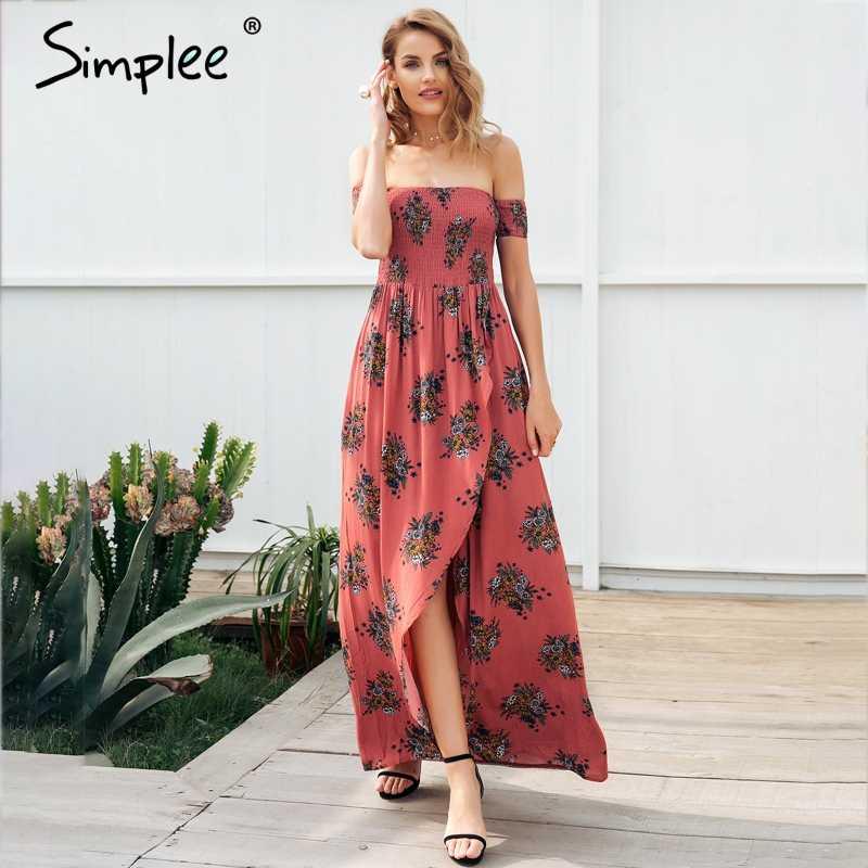 f4a434689c3 Simplee Off shoulder print backless maxi summer dress women High waist long  dress Casual beach boho