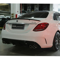 Fit For Benz C Class W205 Spoiler C63 C180 C200 C220 C250 2015 2016 4 Door Car Barbus Style Black Carbon Fiber Rear Wing Spoiler