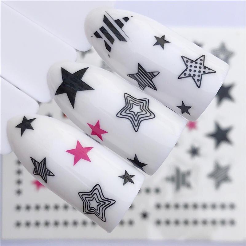 WUF 1 PC Black Star Peixinho/Preto Flor Nail Stickers Transferência de Água Decalques Decoração Sonho Cather Slider Para O Prego dicas DIY
