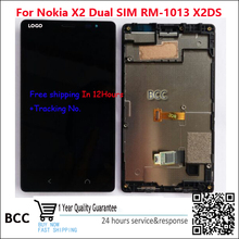 100% Original New For Nokia X2 Dual SIM RM-1013 X2DS LCD display screen+touch screen digitizer+frame bezel assembly Test Ok