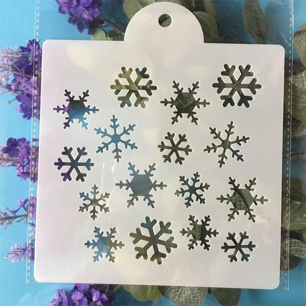 15cm Snowflake DIY Layering Stencils Painting Scrapbook Coloring Embossing Album Decorative  Template