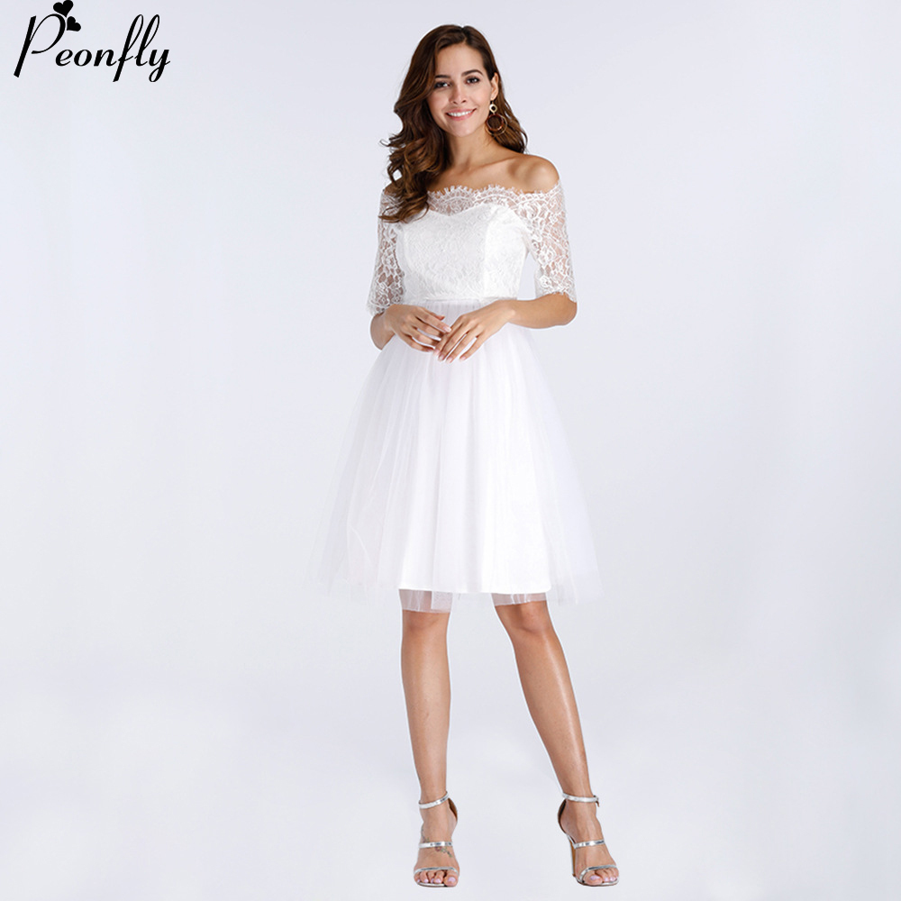 PEONFLY White Party Dress Slash Neck Off the Shoulder Knee-length Vestido de Renda Branco Half Sleeve Wedding Cocktail ...