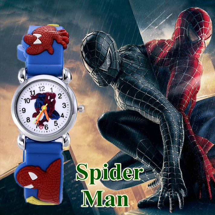 New Spider man boy Watch Kid Child Cartoon Watches Fashion High Quality Girls Wristwatch Hot Sale Cute Jelly Colorful Clock 2017 hello kitty cartoon watches kid girls leather straps wristwatch children hellokitty quartz watch montre enfant