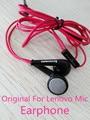 Original para lenovo fone de ouvido, 3.5mm vermelho fone de ouvido com microfone/controle de voz para s600 s720 k900 k920 vibe nota lg htc samsung sony zuk