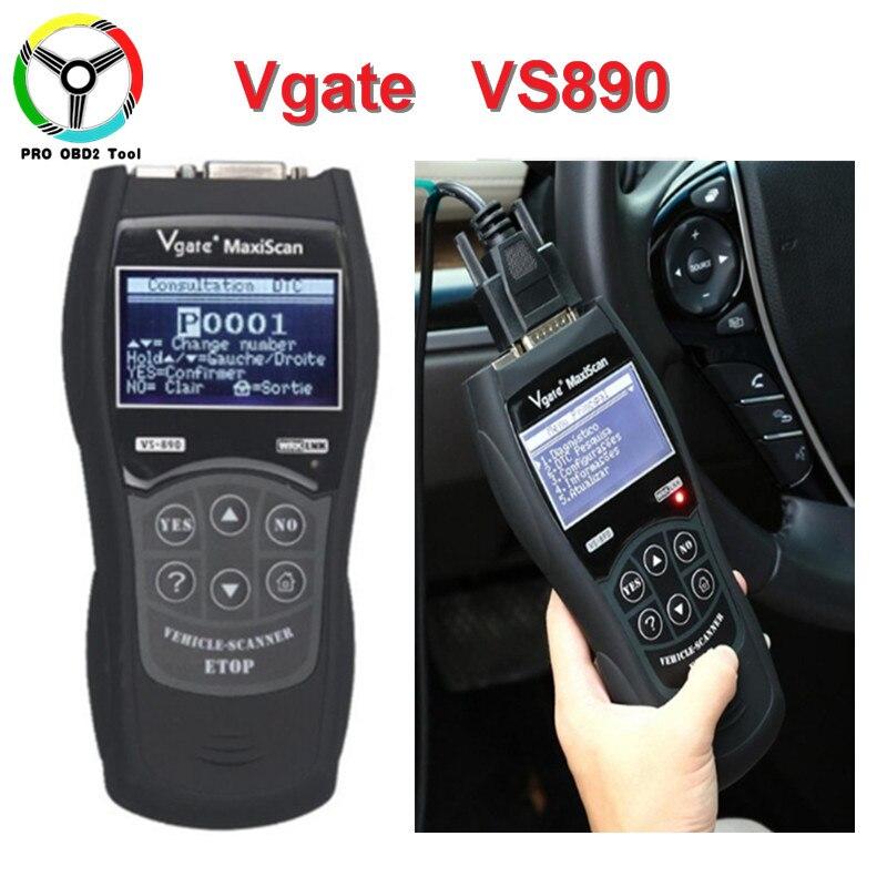 Nouvellement Profssional OBD2 EOBD Outil De Diagnostic VS890 MaxiScan Vgate OBD SCAN Multi-Langue VS 890 Lecteur de Code De Voiture Livraison gratuite