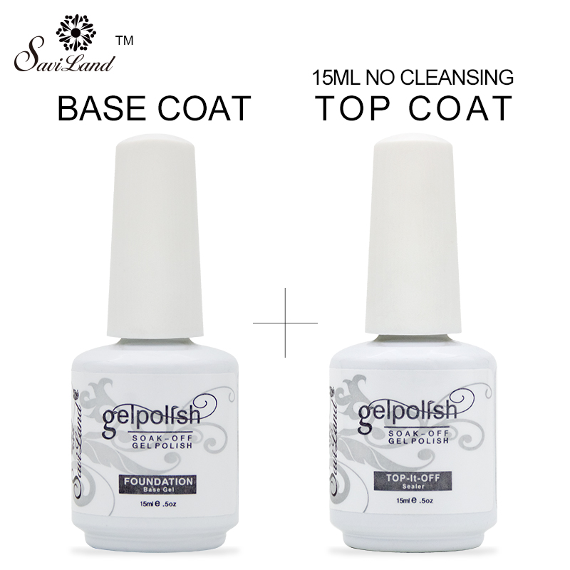 Saviland 2Pcs / set Gelpolish 15ml Top Base Coat Gel Varnish Top it - Nagel kunst