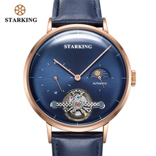 STARKING New Arrival Automatic Watch Stainless Steel Men Luxury Brand 50m Waterproof Mechanical Wristwatch Moon Phase Clock Men